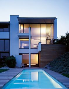 MIKI 1 House by Alexander Brenner Architects. Contemporary architecture, modern home design, lap pool Architecture Design, Residential Architecture, Contemporary Interior, Contemporary Architecture, Contemporary Wallpaper, Contemporary Garden, Contemporary Stairs, Contemporary Apartment, Contemporary Chandelier