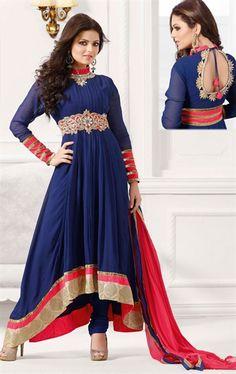 Gleaming Blue Designer Salwar Kameez