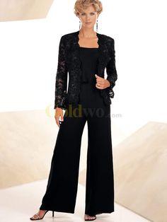 Elegant Black Chiffon Lace Mother Of The Bride Pant Suits - US$223.99 - Goldwo.com