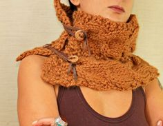 Unisex Mustard Brown Cowl Chunky Scarf /  Hand Knit by lilithist, $75.00