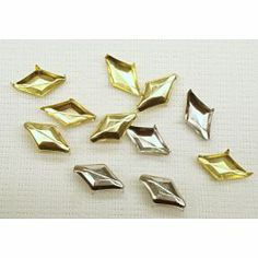 "Metal Studs Pack of 8 diamond shape metal studs with 4 prongs for application, size;5/8""(16mm)x 3/8""(9.5mm), colors; silver and gold"