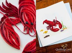 A lobster in an undersea scene-all quilled - by: Quilling Card