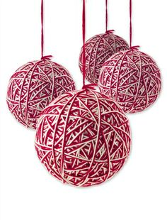 Red-White Yarn Ball Ornaments. I can make this, right??