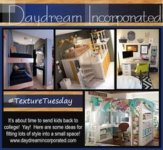 """Don't cramp your Style! Check out our """"dormer"""" chic ideas! #texturetuesday #daydreamincorporated #collegelife"""