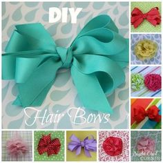 These 7 easy hair bow tutorials will help you make pretty bows for your little girls in no time! Homemade Hair Bows, Easy Hair Bows, Big Hair Bows, Ribbon Hair Bows, Making Hair Bows, Flower Hair Bows, Diy Bow With Ribbon, Flower Headbands, Ribbon Flower