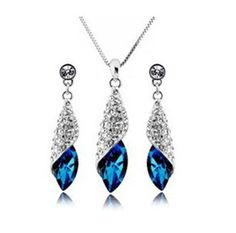 WGP Austrian Swarovski Blue Crystal Necklace and Earing. Starting at $1 on Tophatter.com!