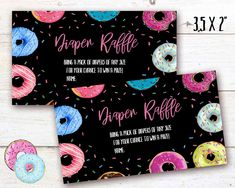 Donut Diaper Raffle, Donut instant download party label, You print birthday diaper raffle, Donut DIY party banner Donut Diy, Diy Donuts, Party Labels, Party Printables, Diy Party Banner, Pack Of Diapers, Diaper Raffle, Birthday Celebration, Card Stock