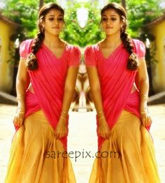 "Actress Nayanatara beautiful half saree photo from tamil movie ""Thirunaal"". The 30-years old heroine looks cute in half saree with puff sleeve blouse."