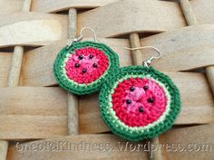 Crochet Watermelon Earrings (pattern)