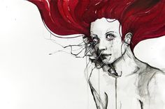 ink, watercolor and pen on paper,  Morena Milani via Monica Lerda onto I WANT RED HAIR!!