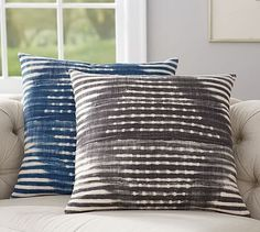 Choose the blue color for the rustice version of the blue color way. Diamond Shibori Print Pillow Cover #potterybarn