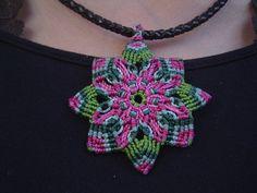 Boho hippie mandala macrame flower necklace with beads multicolored rainbow Macrame Knots, Micro Macrame, Macrame Jewelry, Boho Hippie, Collar Macrame, Braided Necklace, Flower Necklace, Textiles, Macrame Patterns
