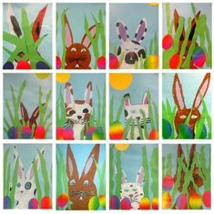 Art classes – Am Lindenberg school – Kids Spring Art Projects, Spring Crafts, Projects For Kids, Crafts For Kids, Kindergarten Art Projects, Classroom Art Projects, Art Classroom, Bunny Crafts, Easter Crafts