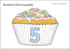 Numbers 0-50 on cupcakes (SB8663) - SparkleBox