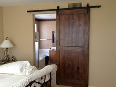 Distressed Knotty Alder Sliding Barn Door   For The Walk In Closet And/