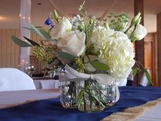 Nautical inspired wedding centerpiece Wedding Centerpieces, Beautiful Flowers, Nautical, Glass Vase, Table Decorations, Weddings, Inspired, City, Inspiration