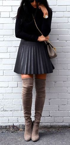 #fall #fashion / pleated skirt + camel boots