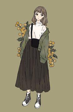 Vintage Fashion Sketches, Fashion Design Drawings, Anime Girl Dress, Anime Art Girl, Cute Girl Drawing, Cute Drawings, Pretty Art, Cute Art, Aesthetic Art