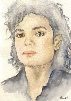 Michael Jackson Print, Original Watercolor Portrait Painting, Modern Art Gift, Photo Poster, Gift For Music Lovers, Pop Music Artwork