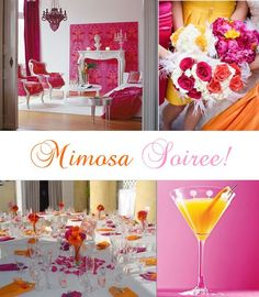 pink and orange wedding decor