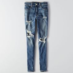 AE Denim X Hi-Rise Jegging ($30) ❤ liked on Polyvore featuring jeans, stained desire, torn jeans, distressed jeans, stretchy jeans, blue ripped jeans and ripped jeans