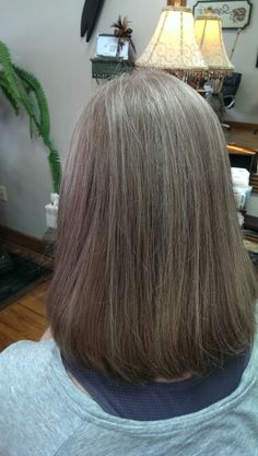 Karen (2) Added a little more Low Lights to blend grey / Dark Blonde / Colored and Styled By Cindy Babich