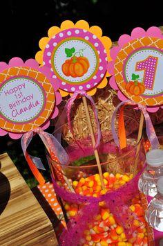 Pumpkin Party Centerpiece Sticks Pumpkin 1st by sosweetpartyshop
