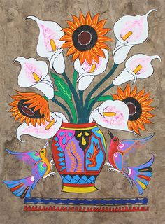 Mexico ~ Luis Cabrera Ortiz ~ Flowers and Birds, bark painting