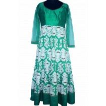 silk classy green anarkali with white beautifully carved embroidery dress
