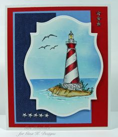 """By The Sea"" by Gina K. Designs, illustrated by Theresa Momber. Gina K. supplies used: Pure luxury card stock, Casual Friday DP and Ocean Mist , Powder Blue premium dye ink pads."