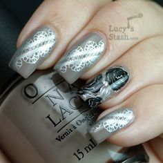 """Lucy's Stash - Lace & Roses stamping nail art.  Base Coat OPI """"Berlin There Done That""""; stamping colors A-England Excalibur & Konad Black.  BM Plates 321 & 323"""