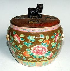 A Straits Chinese porcelain kamcheng enamelled with a floral pattern on a brown ground. Straits Settlements, Nice Jewelry, Porcelain, Chinese, Pottery, Ceramics, Antiques, Brown, Accessories