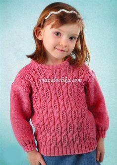 Детский свитер для девочки спицами