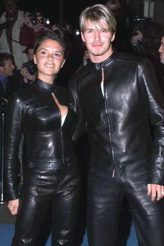 Since I am a leather kind of a gal I honestly thought Posh and Becks looked cute here. Victoria And David, David And Victoria Beckham, Mens Leather Pants, Leather Jumpsuit, Vic Beckham, Posh And Becks, Leather Catsuit, Latex Fashion, Men Fashion