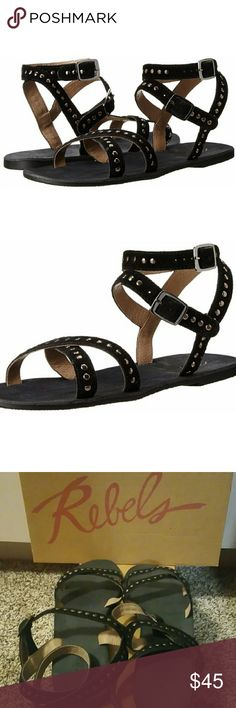 *New* Rebels Women's Gladiator Sandal *Brand New in Box-- Rebels Women's Dress Gladiator Sandals  The strappy upper is expertly crafted from genuine suede leather, and beautifully adorned with all-over studding.  Double ankle straps ensure a secure custom fit.  Pair this sassy sandal with anything from long flowy dresses to short dresses.  Can be dressed up or down. Rebels Shoes Sandals
