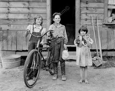 Farm Children Pose With Cat & Bicycle 8x10 Reprint Of Old Photo