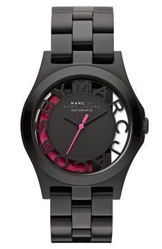 MARC BY MARC JACOBS 'Henry Skeleton' Automatic Watch | Nordstrom - love the black and pink!