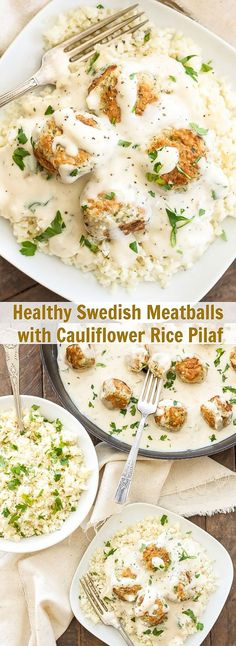 Healthy Swedish Meatballs with Cauliflower Rice Pilaf | An undated version of a recipe I grew up on. You won't find canned condensed soups in here! Made with real ingredients that you can feel good about serving your family!