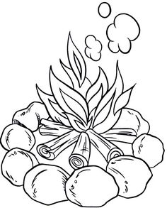 Camping Make Campfire When Coloring Page