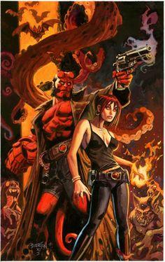 Hellboy & Liz Sherman by Dan Brereton - I know this is Dark Horse comics - but it's still Marvel-ous