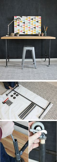 Learn how to build a cool industrial-chic workbench using simple black pipe and a butcher block table top. Just follow the step-by-step tutorial by April Hoff of House By Hoff. See it on The Home Depot Blog. || @aprilhoff