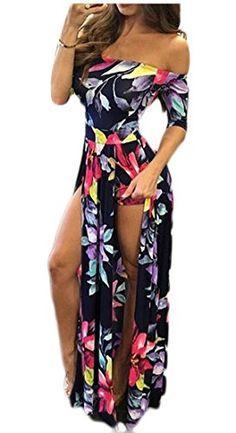 WSPLYSPJY Women Off Shoulder One Piece Romper Floral Print Short Jumpsuit Pants Set