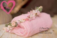2 item set Halo1 yard Vintage Pink swaddle by greenearthstudio