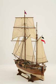 Ship model German galiot HOFFNUNG of This German galiot is a schooner-rigged vessel that is very bluff both at bow and stern. Model Ship Building, Boat Building, Scale Model Ships, Scale Models, Model Sailing Ships, Build Your Own Boat, Wooden Ship, Nautical Art, Tall Ships