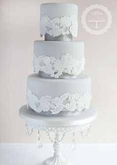 Chic Lace - wedding cake design by Cotton and Crumbs. Visit Renaissance Fine Jewelry in Vermont or at www.vermontjewel.com.