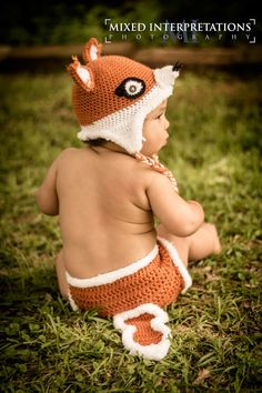 Cute crochet hats for kids and adults: Fox hat with Diaper cover