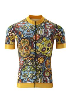 Cycle Candy Skull Cycling T-Shirt Funny Mens Sports Performance Tee