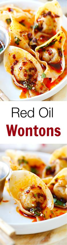 Red Oil Wontons – mouthwatering spicy wontons in Sichuan red oil and black vinegar sauce, SOOOO GOOD!!!   rasamalaysia.com