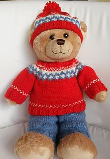 A cute three piece outfit for your bear.  Great for build a bears  Easy double knit Pattern on Ravelry