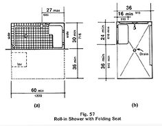 Diagram (a): Where a fixed seat is provided in a 30 inch minimum by 60 inch (716 mm by 1220 mm) minimum shower stall, the controls and spray unit on the back (long) wall shall be located a maximum of 27 inches (685 mm) from the side wall where the seat is attached. (4.21.2, 9.1.2) Diagram (b): An alternate 36 inch minimum by 60 inch (915 mm by 1220 mm) minimum shower stall is illustrated. The width of the stall opening stall shall be a minimum of 36 inches (915 mm) clear located on a long…
